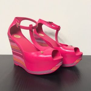 Melissa Pink Peace Wedges
